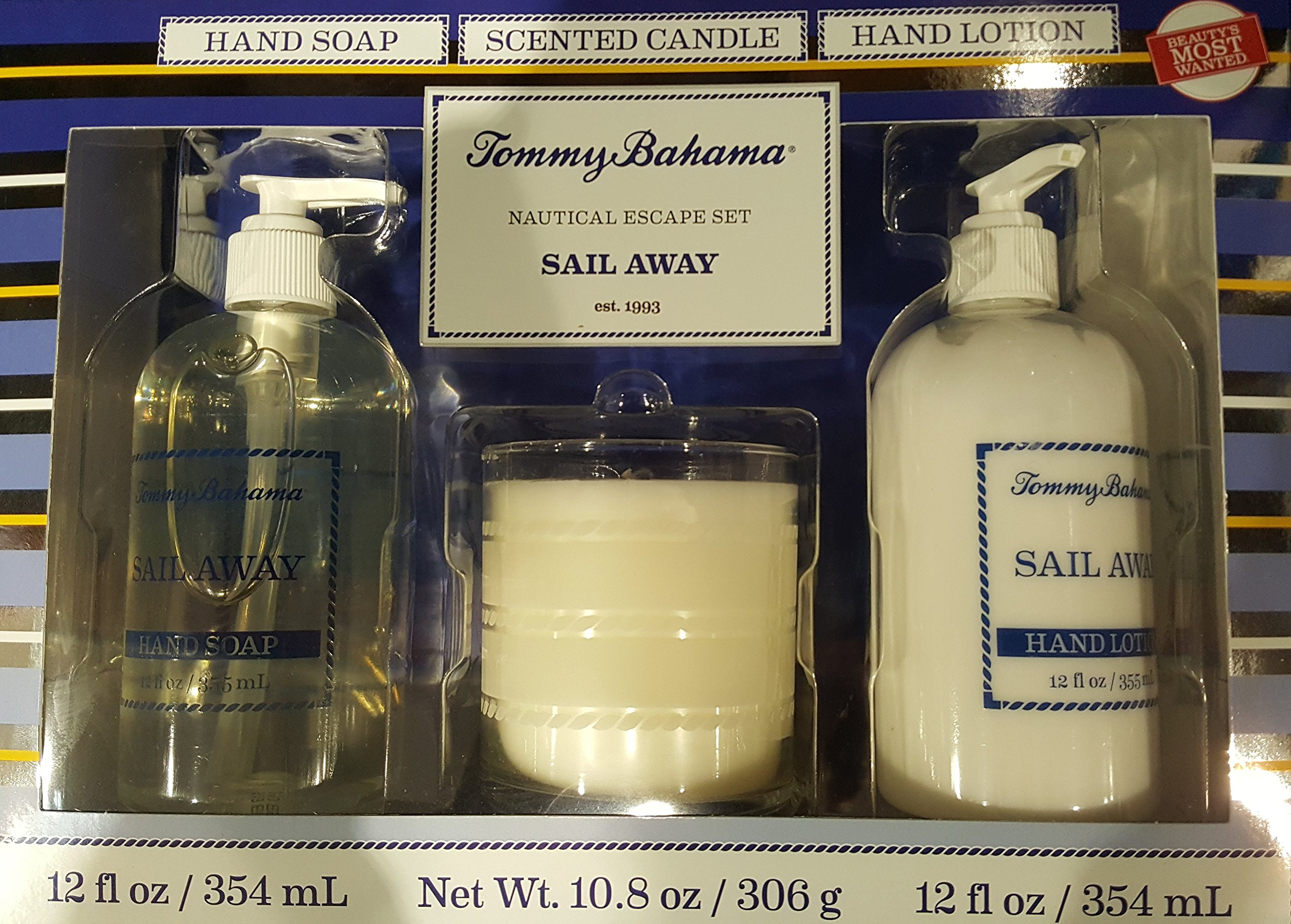Tommy Bahama Sail Away Nautical Escape Set Hand Soap 12oz, Hand Lotion 12oz, and Scented Candle 10.8oz