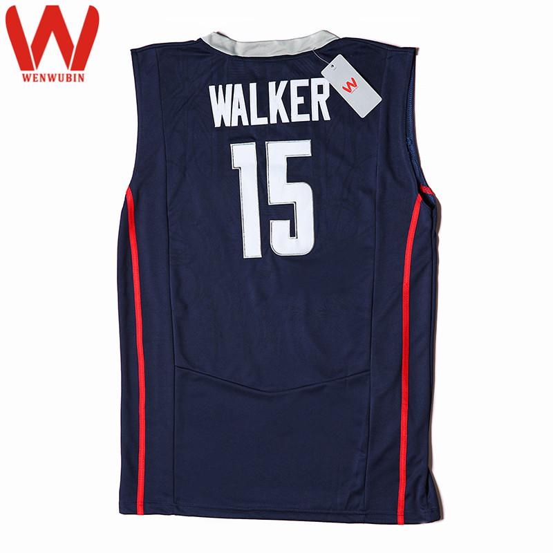 66dcc570741f ... Uconn Huskies Jerseys Embroidery Logos WENWUBIN Mens 15 Kemba Walker  Jersey Throwback College Basketball Jerseys ...