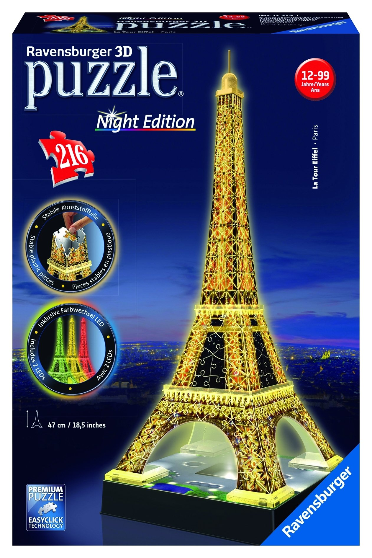 f4b7859a886 Get Quotations · Ravensburger Eiffel Tower - Night Edition - 216 Piece 3D  Jigsaw Puzzle for Kids and Adults