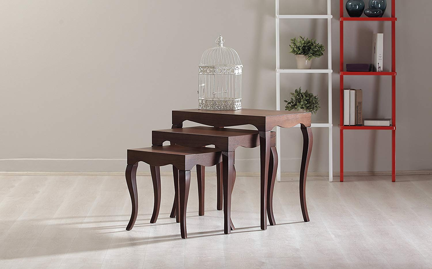 La Viola Décor New Modern Contemporary Victor Nested Tables (3 Tables) #7341 in Walnut Veneer
