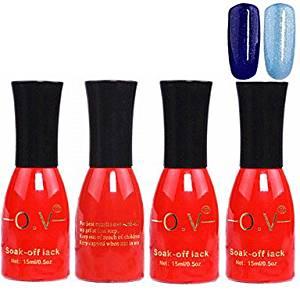 Kaifina 4PCS OV Red Bottle Soak-off UV Gel Set Top Coat+Base Gel+2 UV Color Builder Gel(No.97-98,15ml)