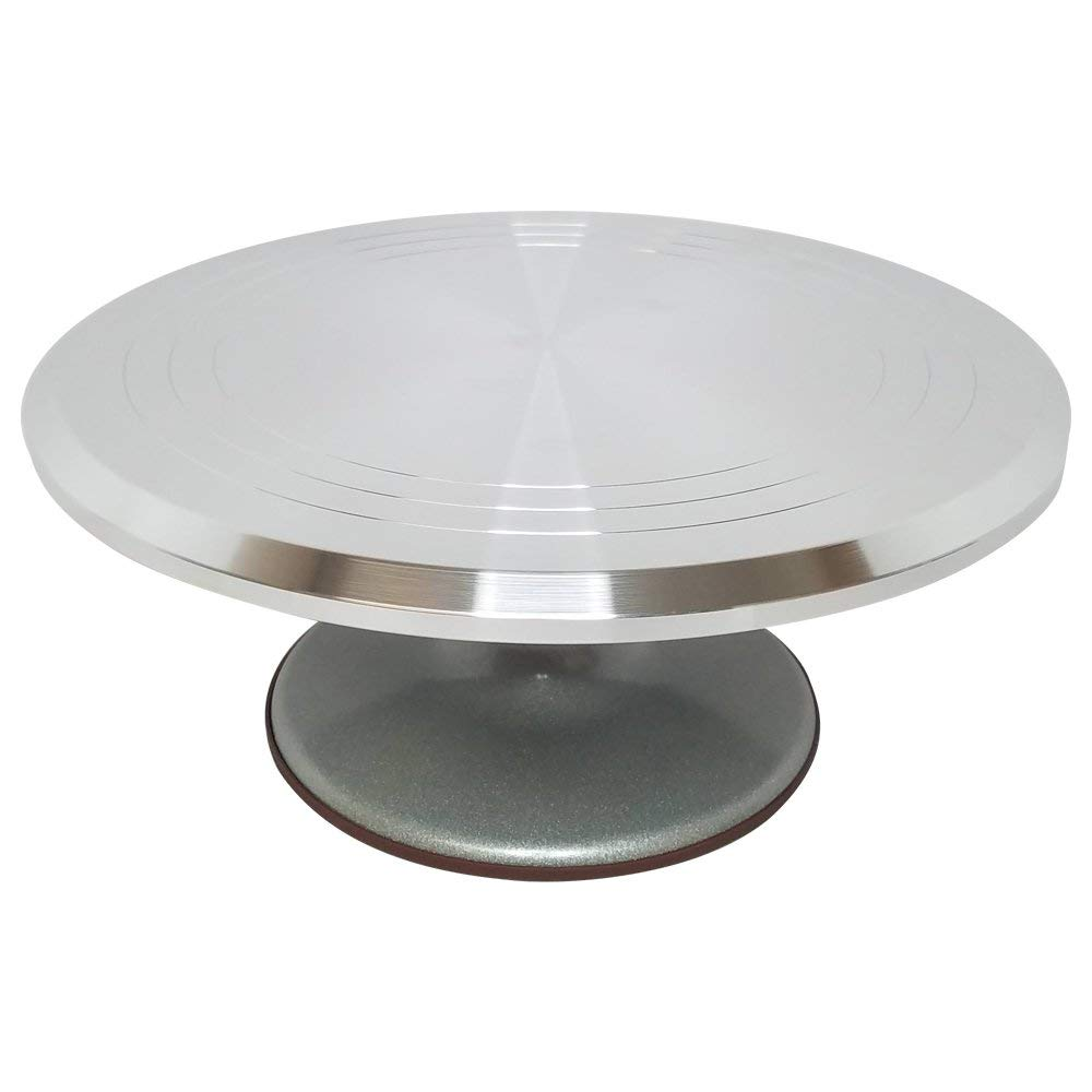 "Stainless Steel Top Rotating Turntable Stand - 12 Inches - Perfect for Decorating and Frosting Cakes - Cake Turntable, Revolving Cake Stand - Decorate Your Favorite Cakes - (12""x5""x12"")"