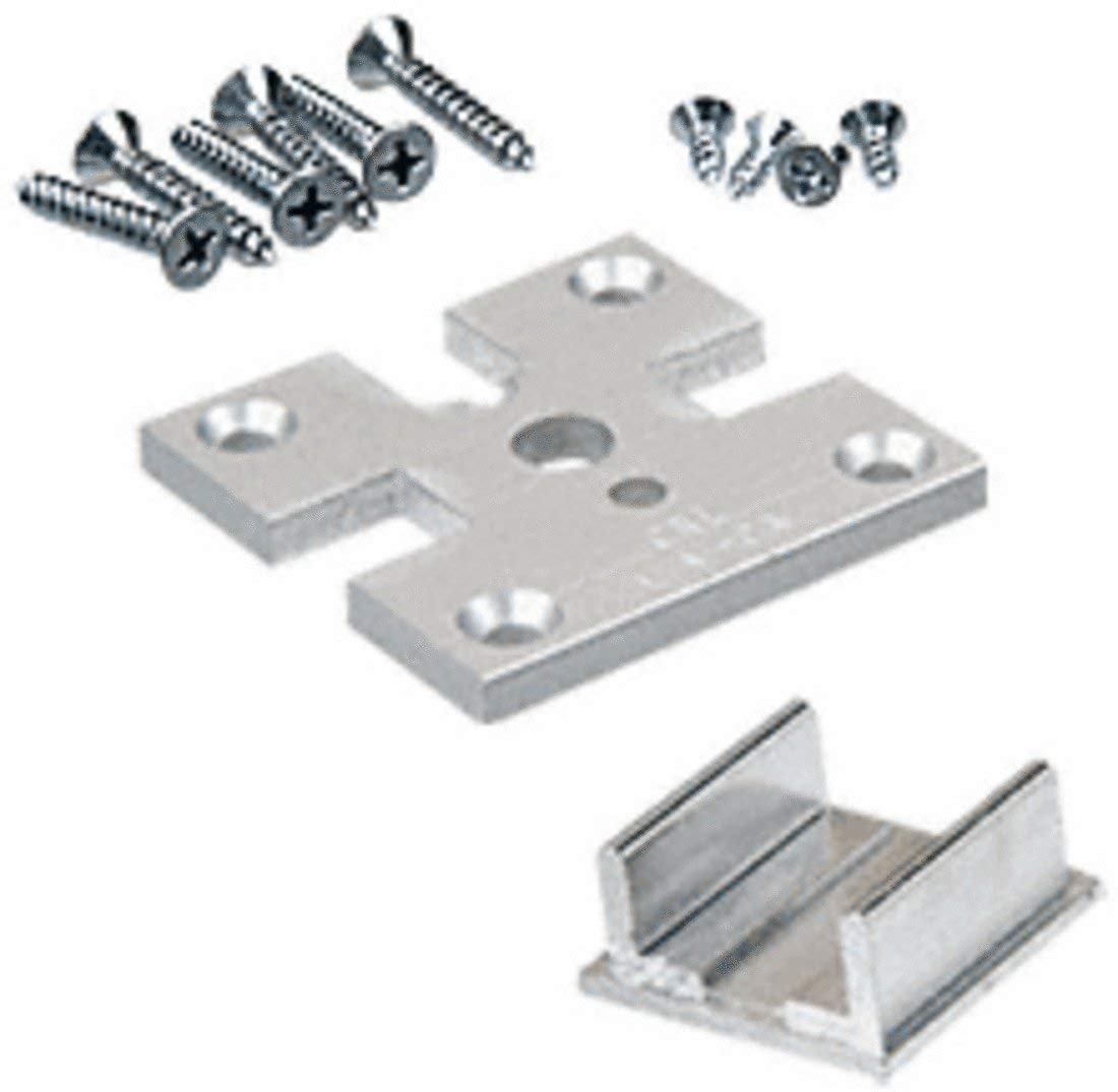CRL Satin Anodized 2; x 2; 3-Way Partition Post Base Plate Kit D1990A3W