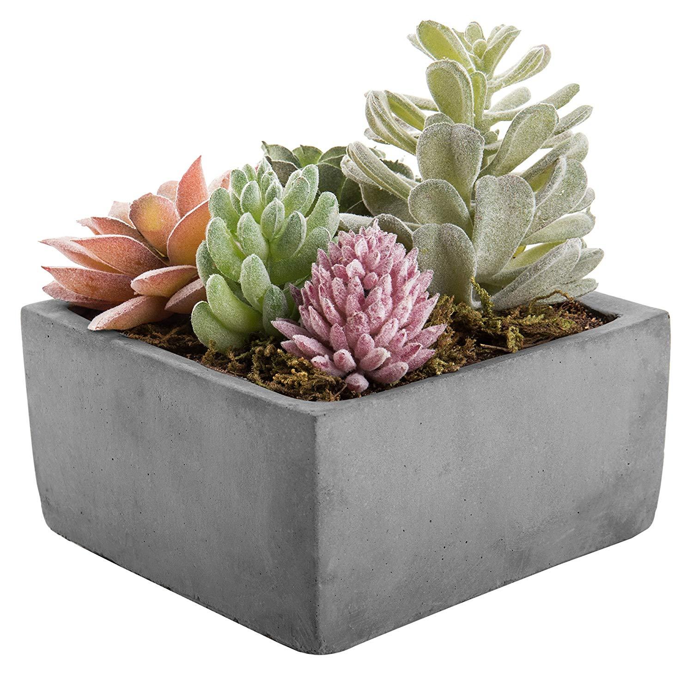 MyGift Mixed Faux Succulent Plant Arrangement in Cement-Tone Clay Planter (Assortment 3)