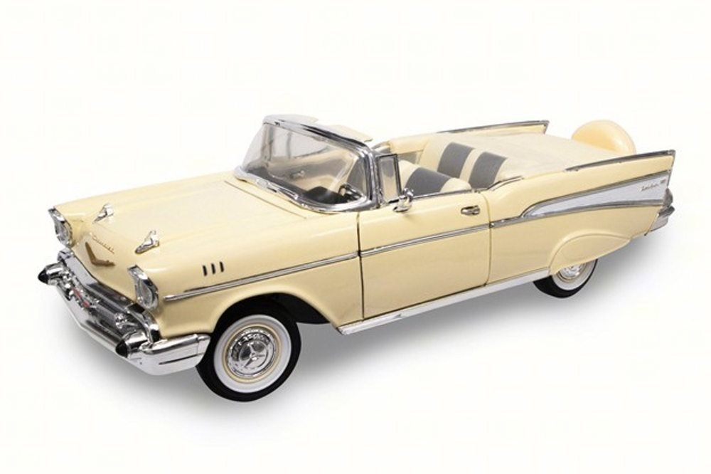 1957 Chevy Bel Air Convertible, Cream - Lucky 92108 - 1/18 Scale Diecast Model Toy Car