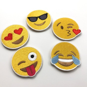 cheap price cute items woven emoji patches