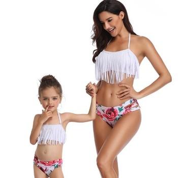 f5b232a1a6 Kids White Bikinis Top Mom Child Dresses Bikini Swimwear Matching Clothes  Split Parent-child Swimsuit - Buy Bikini Swimwear,Kids Bikini,Children S ...