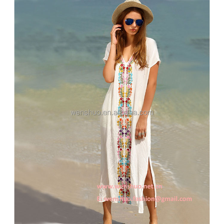 Long Embroider Women Sexy Beach Bikini Dress