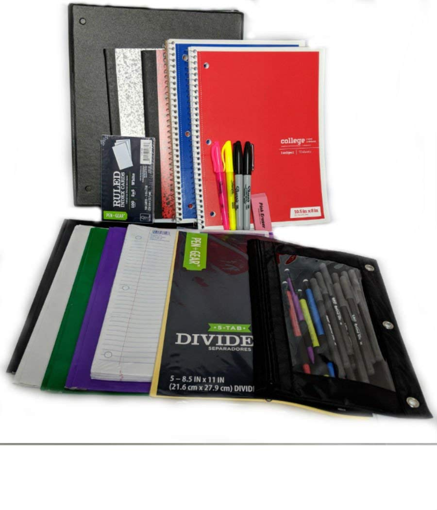 Complete 33 Item Back to School Supplies- College Bundle - Binder, Binder Pouch, Tabs Pens, Pencils, Notebooks, Folders, Paper, Sharpies, Note Cards, Eraser