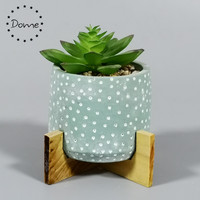 Indoor table concrete ornament mini cement pot succulent artificial plant with wooden stand