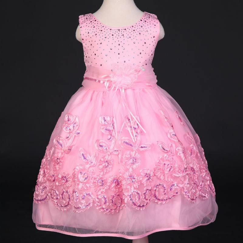 Korean Girl Lace Frock Design Dress Beaded Flower Girls Party Wear ...