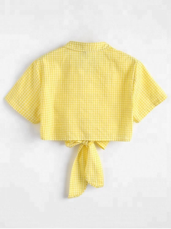 ky woman summer checks button down closure fitTie Front gingham crop top