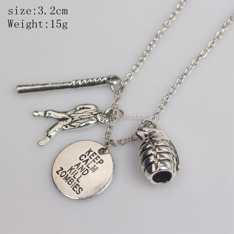 12 pcs The Walking Dead Cudgel And Letter Tibetan Silver charms pendant fit
