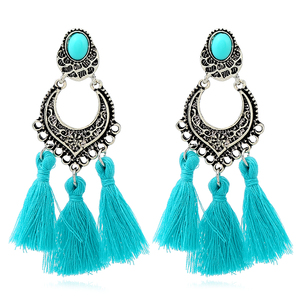 Junlead Wholesale Jewelry jhumka bohemian silver metal long handmade Tassel Fringe thread ethnic hanging dangle Women Earring