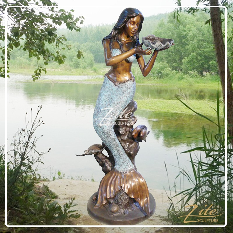 Hot Selling Outdoor Life Size Bronze Mermaid Statues Sale