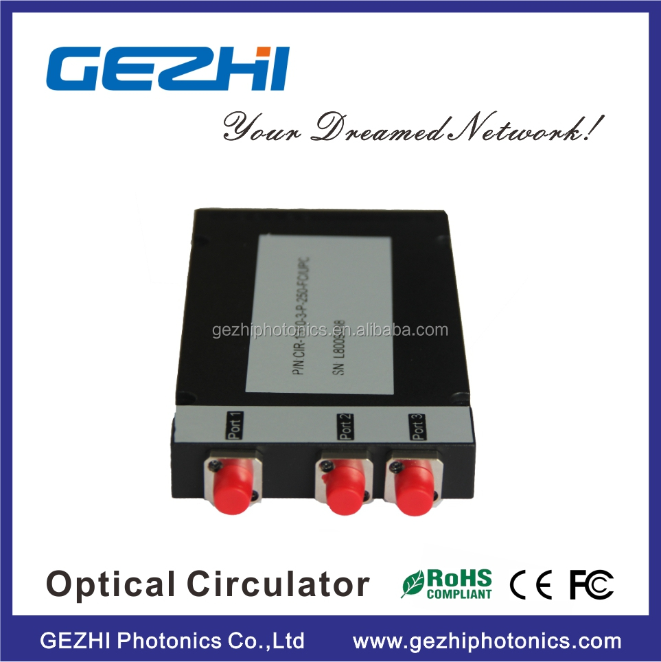 Fiber optical circulator 3 port S+C+L Band wavelength 1550nm Optical Circulator ABS box type
