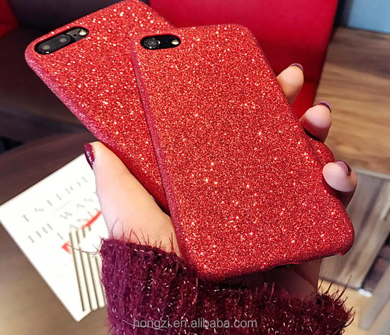 Bling Glitter Shining Red PU Leather Soft Case For iPhone 7 6 6S Plus 6 Colors Phone Cover Back For iPhone Capa