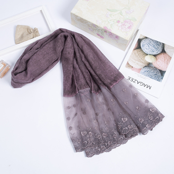 2018 new lace cotton scarf hijab long style shawls wrap Muslim Arab India Dubai women scarves