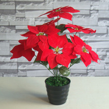 7 Heads Artificial Christmas Flowers Bouquet Velvet Red Xmas Flowers Poinsettia Flowers Artificial