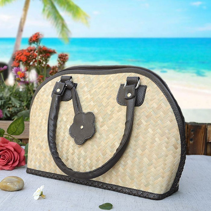 Fashion Woven Straw Shoulder Bag Summer Beach Rattan Tote Bag with Travel Holiday for Women