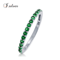 925 Sterling Silver Simulated Emerald CZ Half Eternity Ring R500451