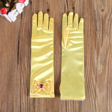 Girls new fashion long satin yellow dress up gloves with red diamond for children
