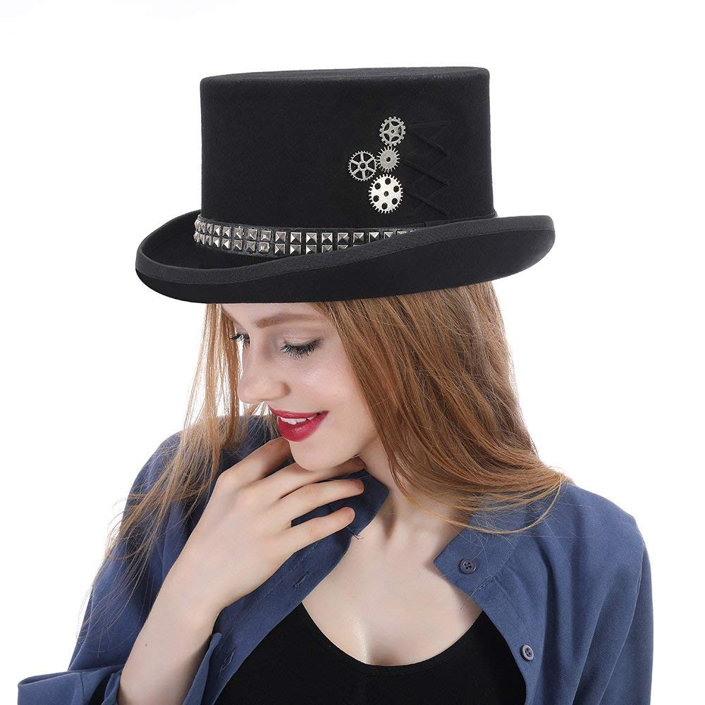 1be431ac12e Get Quotations · HHF Hats   Caps Hat Topper Unisex Steampunk Hat Steam Punk  Fedoras Top (Color