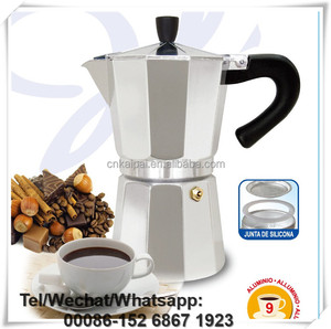 Italian-staly 9CUP Beautiful colorful Aluminum Coffee Maker with Round Boiler can be used on Gas