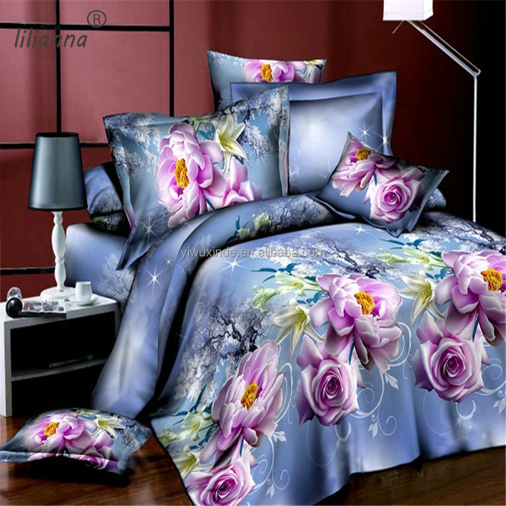 LILIANNA light blue flower design bedding sets 3D elegant bedding sets