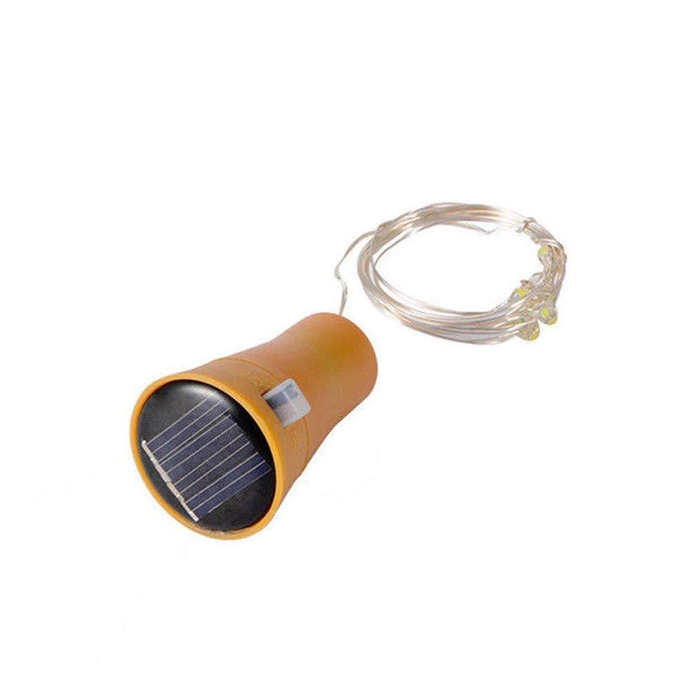 Yezijin Solar LED Lamp, 1/2/5PCS 2M 20LED Solar Cork Wine Bottle Stopper Copper Wire String Lights Fairy Lamps (1PCD, White)