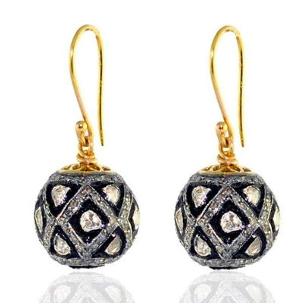 Wedding Women Pave Polki & Rose Cut Diamond Sterling Silver 14K Gold Finish Dangle Hook Earrings Handmade Victorian Style Jewelry