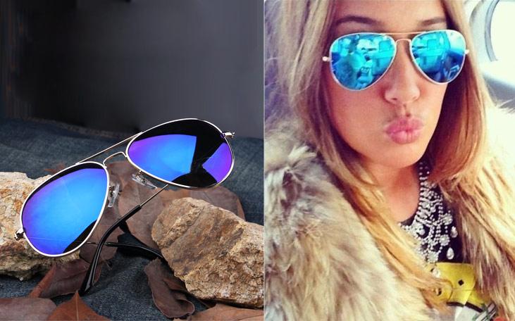 Full Blue Mirrored Aviator Sunglasses Dark Tint Lens