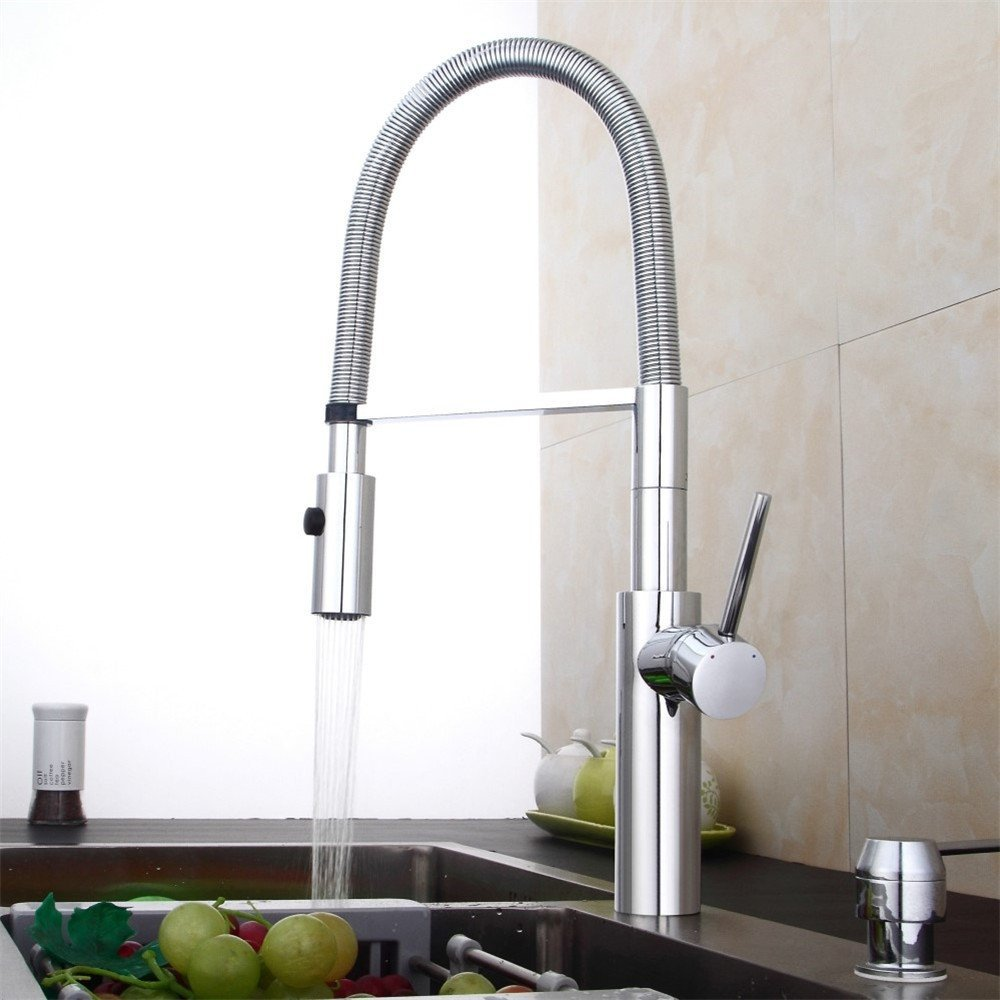 FHLYCF Faucet pull type dish faucet for kitchen, rotatable high density spring faucet, stretching and bending cold and hot water tank faucet