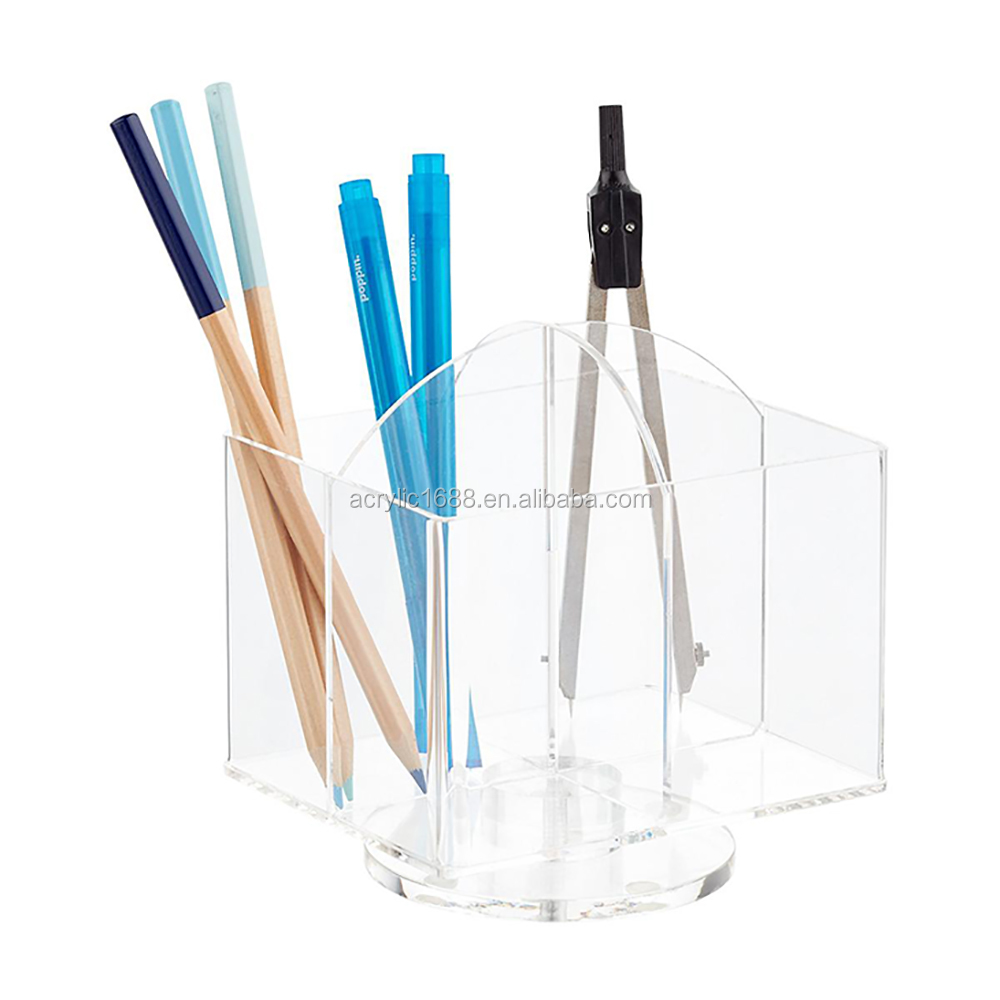 Rotating 4-Section Acrylic Pencil Stand Cup/Children Pencil Holder