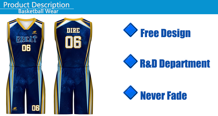 100% Polyester Basketball Jersey Uniform Design Color Blue Reversible Men Basketball Jersey