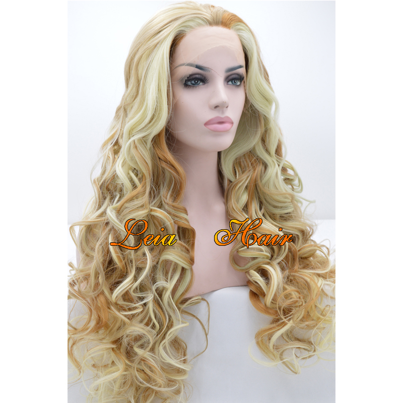 Wig Blonde Synthetic Lace Front Wig Heat Resistant Cheap Kanekalon Hair Long Wavy Glueless Mixed White/Blonde/Brown Wig For Sale
