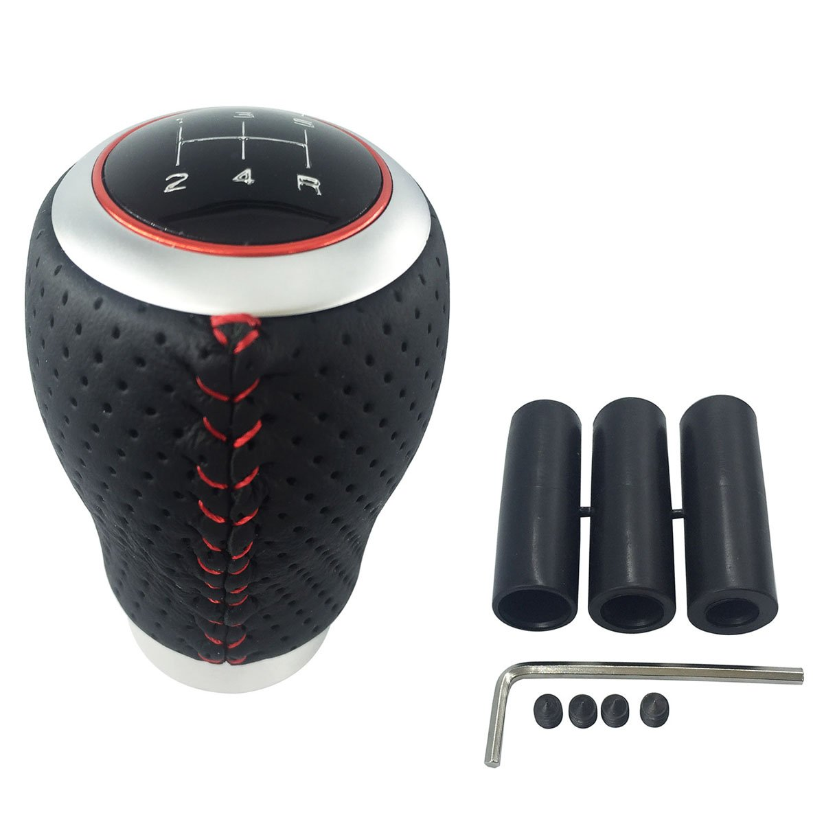 Abfer Shift Knob Leather 5 Speed Manual Car Gear Shift Head Shifter Lever Stick (Red Line)