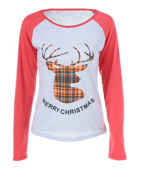 2017 long sleeve womens christmas shirt Reindeer Pattern t-shirt raglan