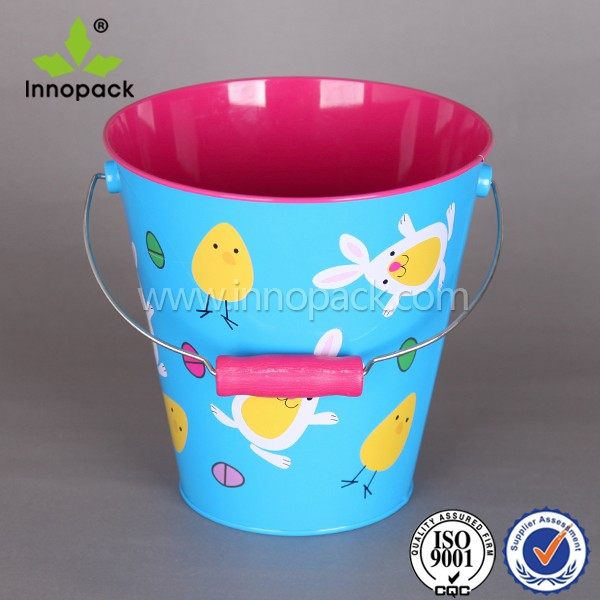 Easter Candy Bucket Wholesale Bucket Metal Pail With Cartoon