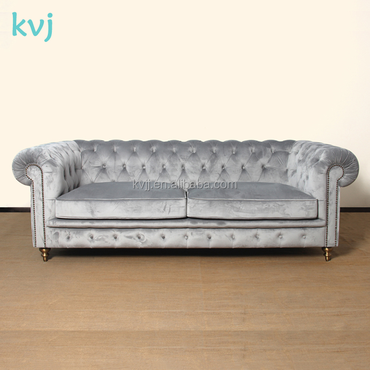 KVJ-7622-1 modern italian wood fabric leather chestfield sofa