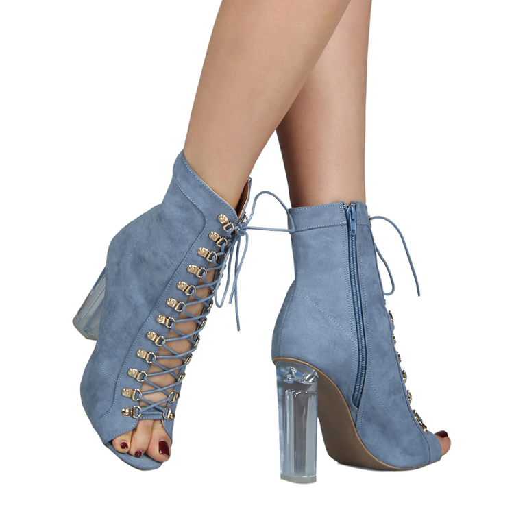 Fashion women lace up denim boots with crystal chunky <strong>heel</strong>