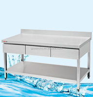 Double work table with The Drawer/with under shelf/splashback/commercial/stainless steel kitchen equipment/ new style