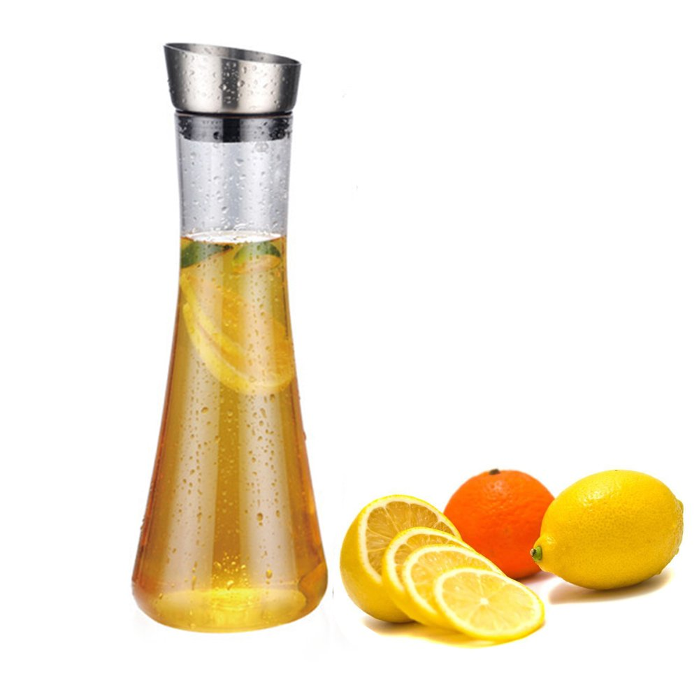 Shatterproof Acrylic Water Pitcher, Fruit Infusion Washable Water Carafe Best For Infused Lemon, Fruit, Herbs Or Iced Tea Beverages (35 Ounces)