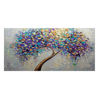 Wholesale handmade abstract wall art painting contemporary blue tree