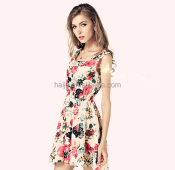 clásico ocasionales Vestido barato mujeres las florales impresas bonitas de CcF5wRUqH