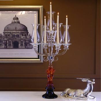 Antike Glas Christbaumschmuck Kristall Kerzenhalter 5 Kopfe