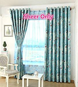 WPKIRA Window Treatments Kids Room Decor Perspective Print Nautical Ship Rudder Rod Pocket Sheer Curtains Tulle Voile Drapes Scarf Valances for Boys Room , 1 Panel W40 x L84 inch