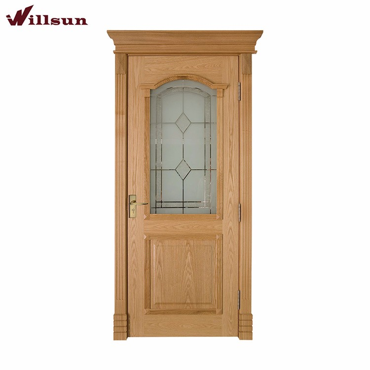 Oak veneer panel skin solid plywood glass exterior door for Solid oak front doors with glass