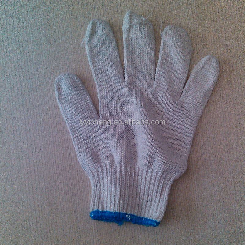 7/10 gauge white knitted cotton gloves manufacturer in china/orange work glove yellow