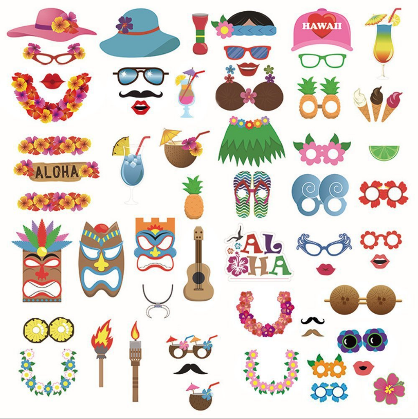 2018 neue Produkt Hawaiian/Tropical/Tiki/Sommer Pool Party Dekorationen Liefert 60 pcs Luau Erwachsene Photo Booth requisiten